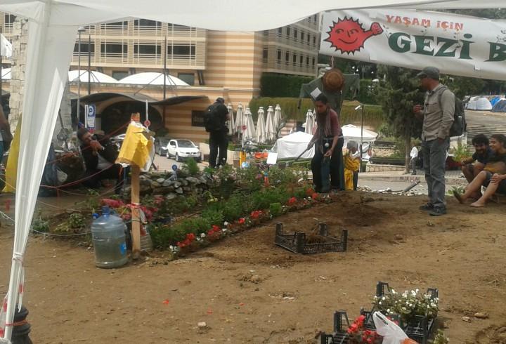 Atelier jardinage dans le parc Gezi, 14 juin 2013 (photo E. Massicard)