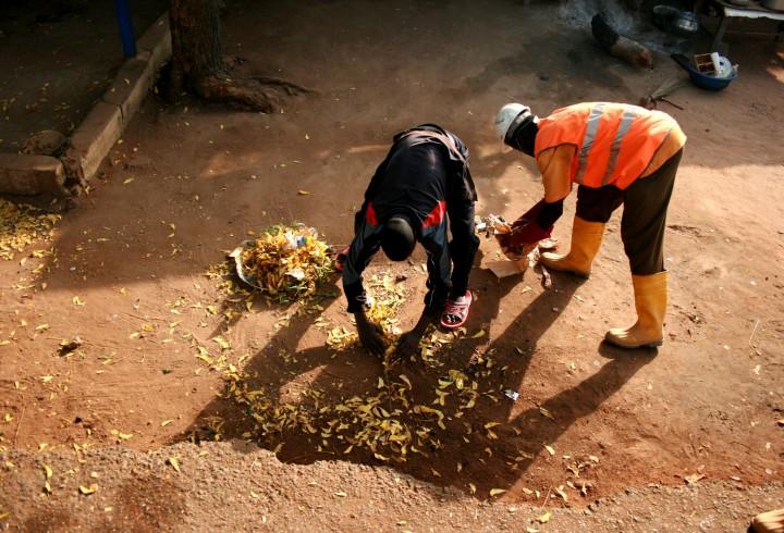Un éboueur d'Hysacam aide un citadin à rassembler des déchets domestiques et des feuilles mortes avant de les déposer dans le camion benne, dans le cadre de la collecte porte-à-porte, Garoua, novembre 2009, photo E. Guitard